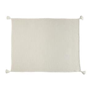 Nicobar Ivory / Beige Casual Striped Tassel Cotton Throw Blanket