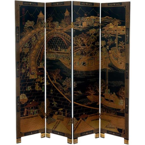 Oriental Furniture - 6 ft. Black 4-Panel Ching Ming Festival Room Divider