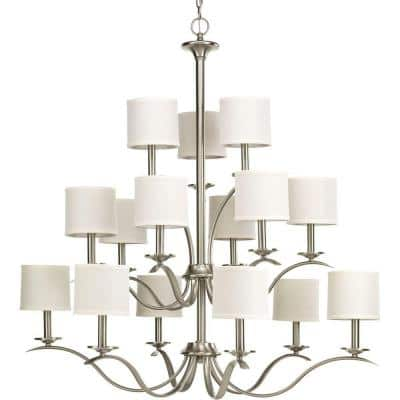 Inspire Collection 15-Light Brushed Nickel Chandelier with Off-White Linen Shade