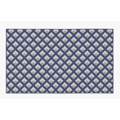 Modern Living Room with Nonslip Backing, Geometric Gray and Blue Trellis Pattern, 3 ft. x 5 ft. Extra Small Area Rug