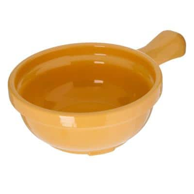 8 oz. Honey Yellow Plastic Handled Soup Bowl (24-Pack)
