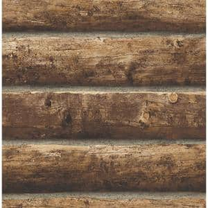 Log Cabin Brown Vinyl Peel & Stick Wallpaper Roll (Covers 30.75 Sq. Ft.)