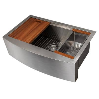 ZLINE Moritz Farmhouse 33 in. Undermount Single Bowl Kitchen Sink in Stainless Steel with Accessories