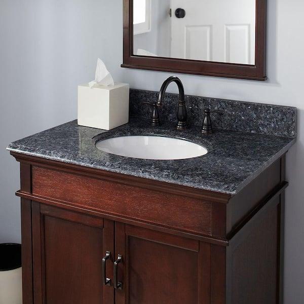 Pegasus 37 In Granite Vanity Top In Blue Pearl With White Basin 37905 The Home Depot