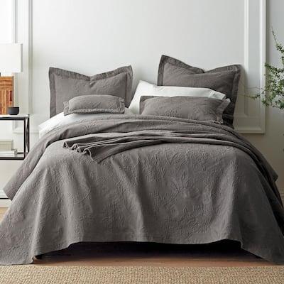 Putnam Matelasse Dark Gray Cotton Decorative Sham