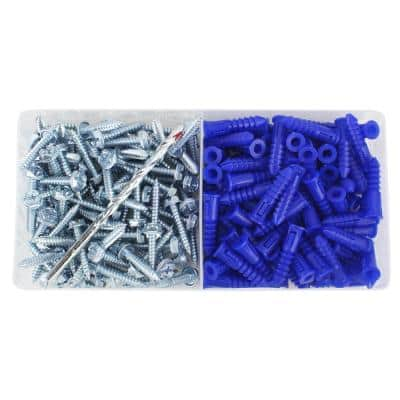 #10-12 x 1-1/4 in. Blue Ribbed Plastic Anchor Kit with Screws (201-Pieces)