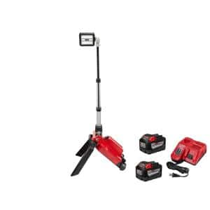 M18 ONE-KEY 18-Volt Lithium-Ion Cordless ROCKET Dual Pack Tower Light with Two 9.0Ah Batteries, Rapid Charger