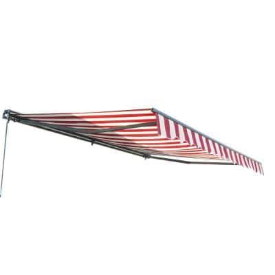 10 ft. Half Cassette Retractable Awning (96 in. Projection) in Multi-Striped Red