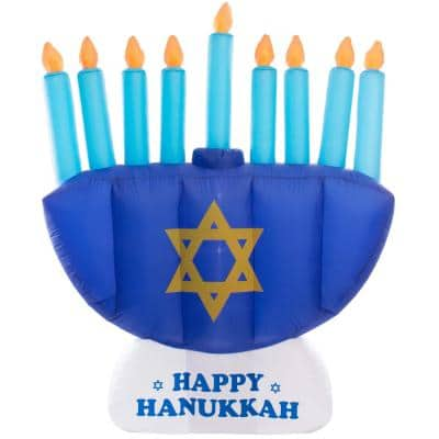Giant Hanukkah Inflatable Menorah - Yard Decor with Built-In Bulbs, Tie-Down Points and Powerful Built-In Fan