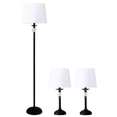 16.4 in. Black Modern Floor Lamp and 2-Table Lamps with Glass Orbs (Set of 3)