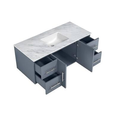 Geneva 48 in. W Single Bath Vanity in Dark Grey with Marble Vanity Top in White Carrara with white square basin(s)