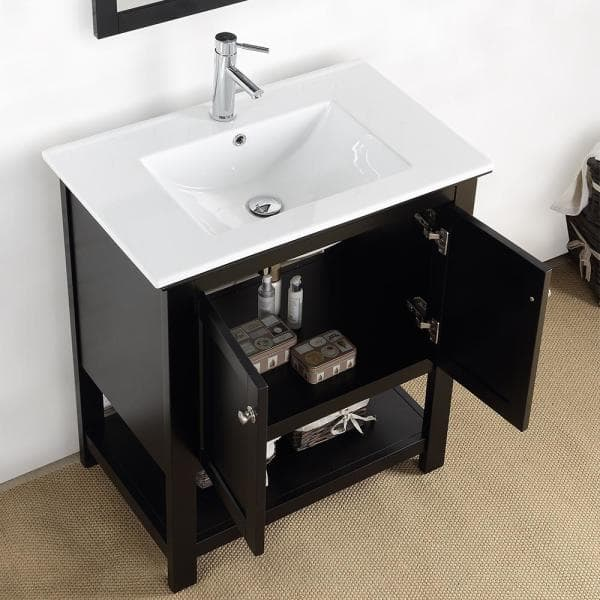 Fresca Bradford 30 In W Traditional Bathroom Vanity In Black With Ceramic Vanity Top In White With White Basin Fvnhd0105bl Cmb The Home Depot