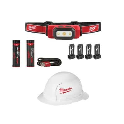 475 Lumens LED REDLITHIUM USB Hard Hat Headlamp and BOLT Full Brim Vented Hard Hat w/ Extra USB 3.0 Ah Battery