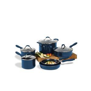 10-Piece Mediterranean Blue Aluminum Cookware Set