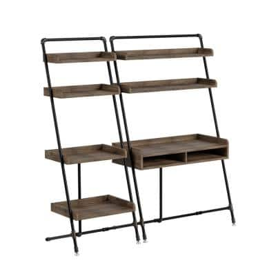 Kasia 71 in. H Reclaimed Oak Leaning 2-Piece Desk and Bookcase Set With Leveling Feet