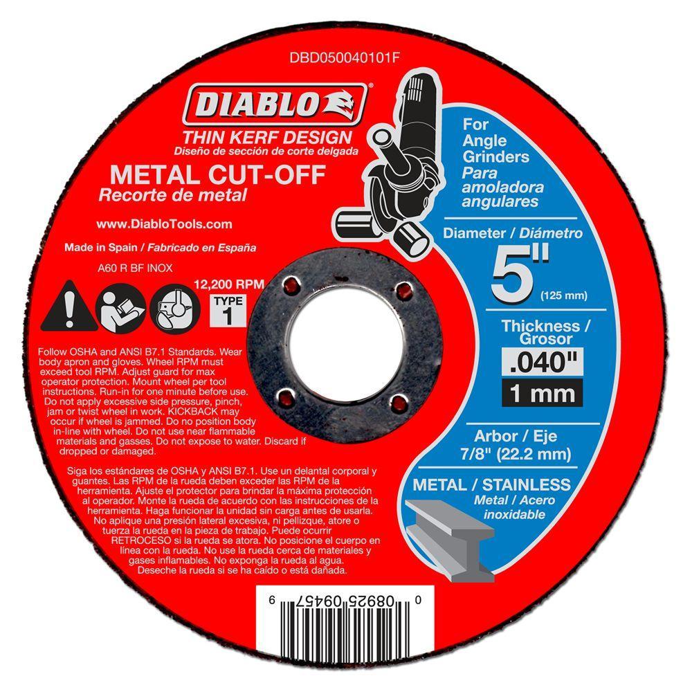 5 in. x 0.040 in. x 7/8 in. Thin Kerf Metal Cut-Off Disc (10-Pack)