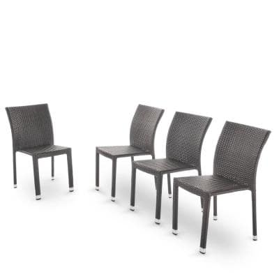 Dover Multi-Brown Wicker Armless Outdoor Dining Chairs (4-Pack)