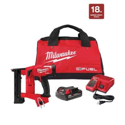 M18 FUEL 18-Volt Lithium-Ion Brushless Cordless 18-Gauge 1/4 in. Narrow Crown Stapler Kit w/ Battery 2Ah, Charger & Bag