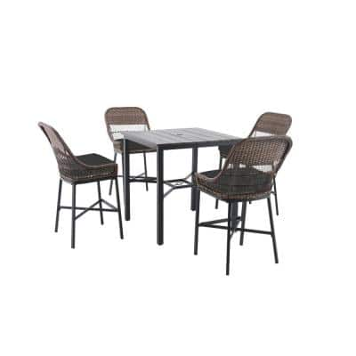 Beacon Park 5-Piece Brown Wicker Outdoor Patio High Dining Set with CushionGuard Graphite Dark Gray Cushions