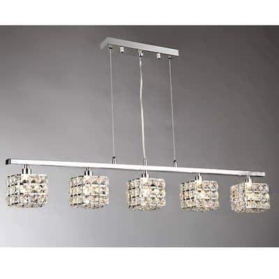 Sandra 5-Light Chrome Indoor Crystal Chandelier with Shade