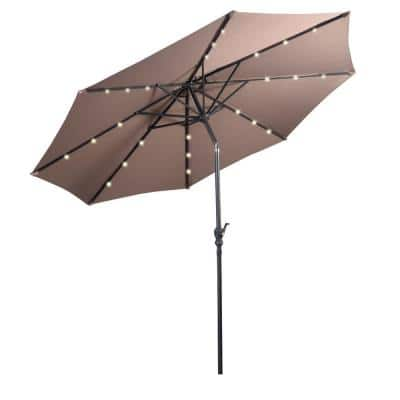 10 ft. Steel Market Solar Tilt Patio Umbrella with Crank and LED Lights in Tan