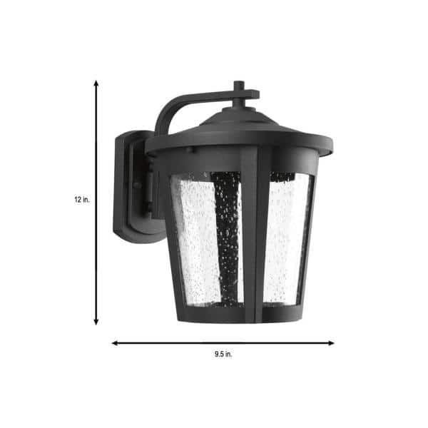 Progress Lighting East Haven Led Collection 1 Light Textured Black Clear Seeded Glass Transitional Outdoor Large Wall Lantern Light P6079 3130k9 The Home Depot