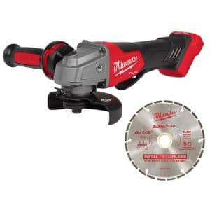 M18 FUEL 18-Volt Lithium-Ion Brushless Cordless 4-1/2 in./5 in. Grinder, Paddle Switch Kit with Diamond Cut Off Blade