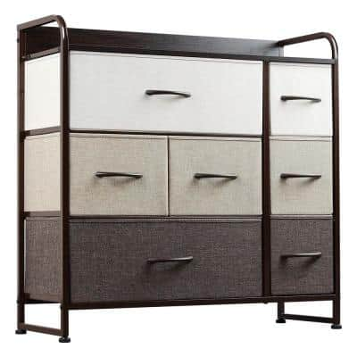 Ingram Fabric 7-Drawer Multi-Colored Chest of Drawers 11 in W. X 32 in H.