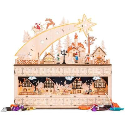 17 in. Wood LED Christmas Shooting Star Advent Calendar