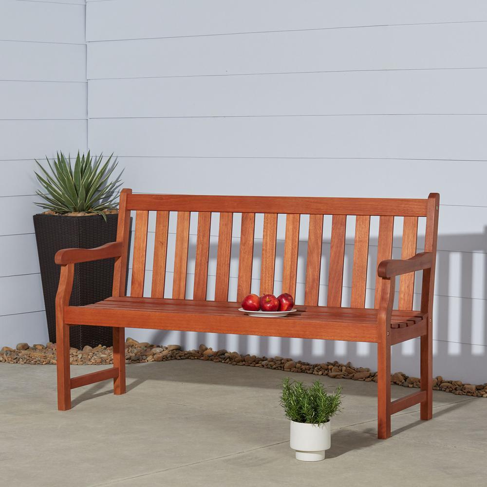 Baltic 5 ft. Eucalyptus Wood Garden Bench