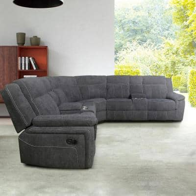 3 Piece 108.25 in. Gray Velvet 5 Seats Symmetrical Mannual Motion Sofa Reclining Sectionals with Cup Holders