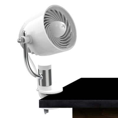 Pivot Clip 4 in. Personal Fan Air Circulator with Multi-Surface Mount in Ice