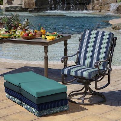 20 x 44 Sapphire Aurora Stripe Outdoor Dining Chair Cushion