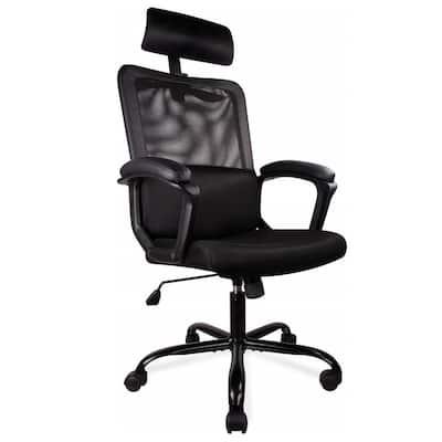 Black Office Chair High Back Ergonomic Mesh Desk Chair with Padding Armrest and Adjustable Headrest