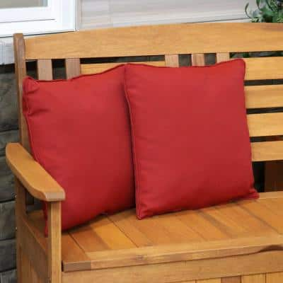 16 in. Red Square Outdoor Patio Throw Pillows (Set of 2)
