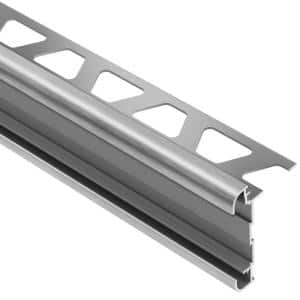 Rondec-CT Brushed Chrome Anodized Aluminum 5/16 in. x 8 ft. 2-1/2 in. Metal Double-Rail Bullnose Tile Edging Trim