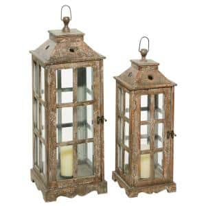 Brown Wood Rustic Candle Lantern (Set of 2)