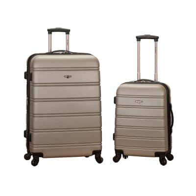 Melbourne Expandable 2-Piece Hardside Spinner Luggage Set, Silver