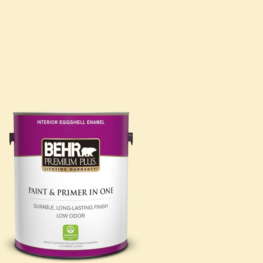 Behr Premium Plus 1 Gal 370a 1 Moon Mist Eggshell Enamel Low Odor Interior Paint And Primer In One 205001 The Home Depot