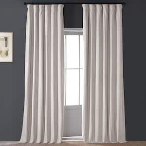 Alabaster Beige Velvet Rod Pocket Blackout Curtain - 50 in. W x 96 in. L