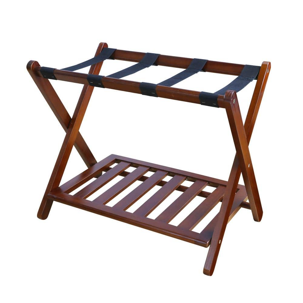 Casual Home 26 75 In W X 16 In D Walnut Solid Wood Luggage Rack With Shelf 102 23 The Home Depot