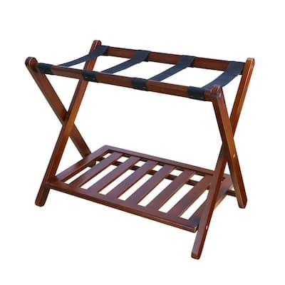 26.75 in. W x 16 in. D Walnut Solid Wood Luggage Rack with Shelf