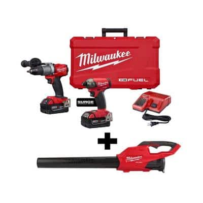 M18 FUEL 18-Volt Lithium-Ion Brushless Cordless Surge Impact/Hammer Drill Combo Kit with M18 FUEL Handheld Blower