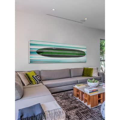 "15 in. H x 45 in. W ""Surf Board"" by Parvez Taj Printed White Wood Wall Art"