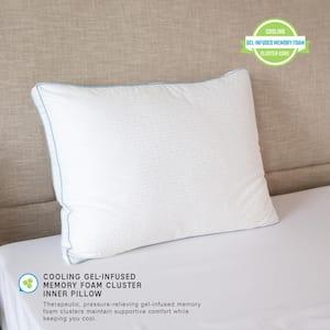 Gel Core Medium Comfort Gel-Infused Memory Foam Clusters and Gel Fiber Jumbo Pillow