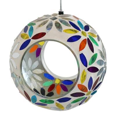 6 in. Rainbow Daisies Mosaic Glass Fly-Through Hanging Bird Feeder