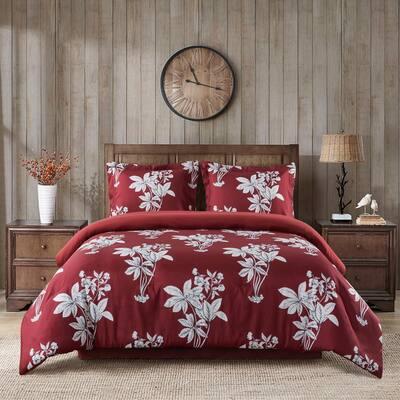 Camelia 4-Piece Red Microfiber Full/Queen Comforter Set