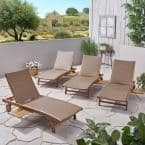 Banzai Brown 4-Piece Wood Outdoor Chaise Lounge