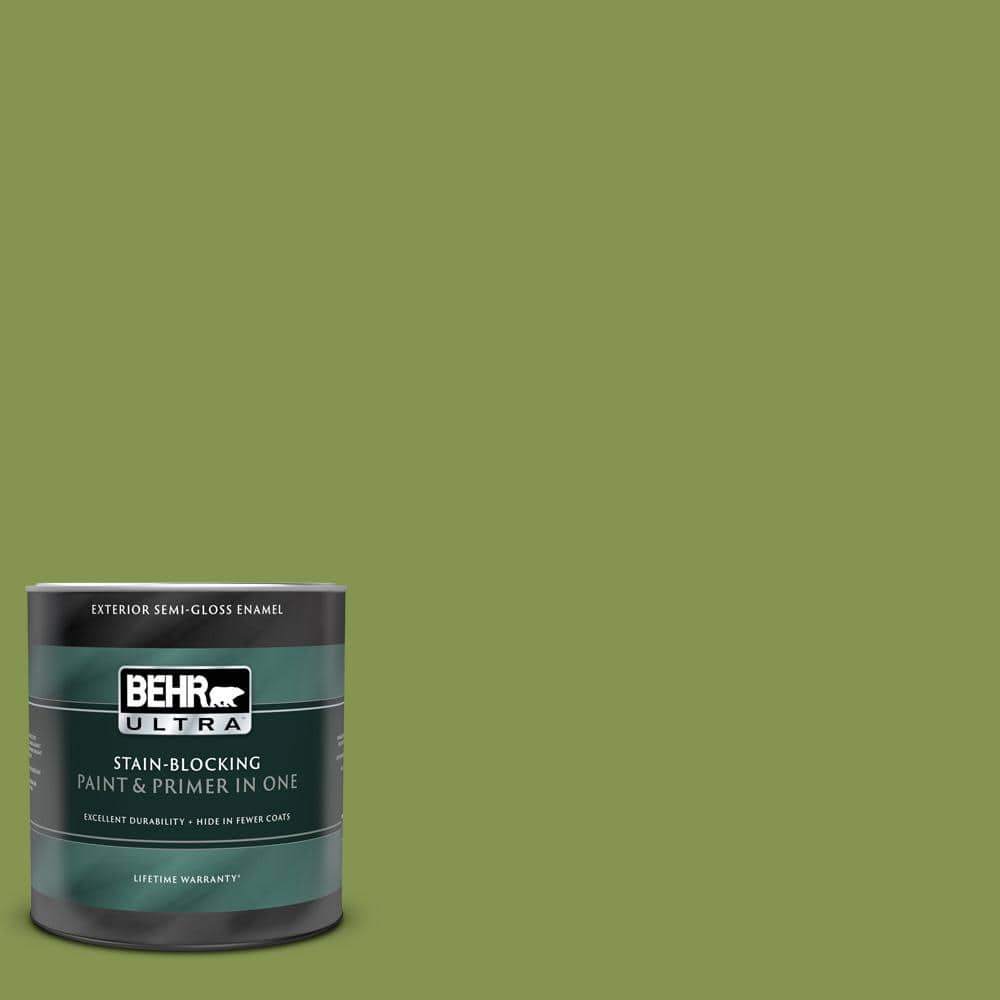 Behr Ultra 1 Qt M360 6 Bold Avocado Semi Gloss Enamel Exterior Paint And Primer In One 585304 The Home Depot
