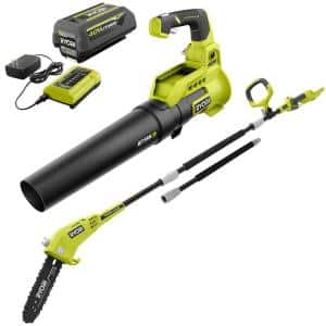 110 MPH 525 CFM 40-Volt Lithium-Ion Jet Fan Leaf Blower and 10 in. Pole Saw - 4.0 Ah Battery and Charger Included